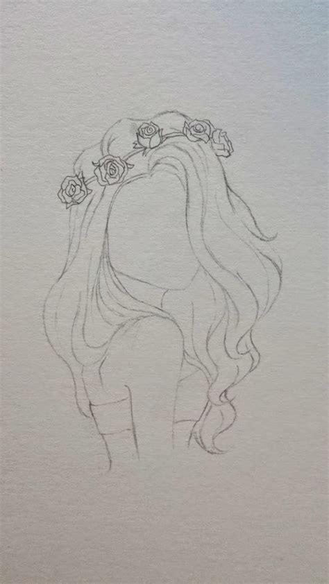 drawing flower crown girl