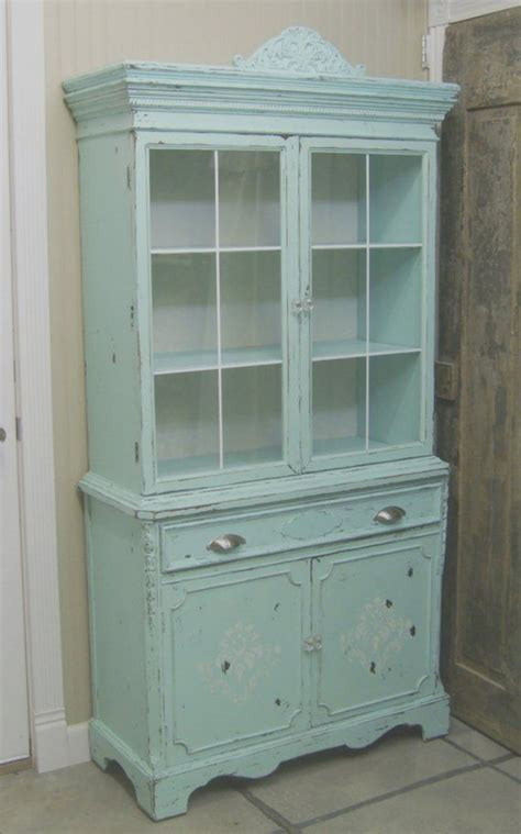 The China Cupboard by Shabby 1940 S Aqua Painted China Cabinet Cupboard