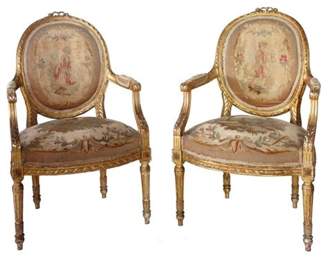 pair of louis xvi style gilt aubusson armchairs