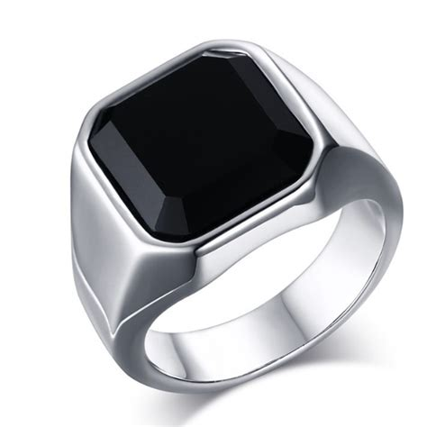 cincin pria titanium stainless steel square black onyx thick band elevenia