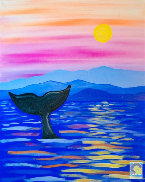 whale tail canvas painting diy painting night painting