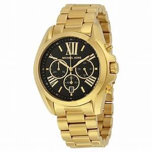 Michael Kors Mid-Size Bradshaw Chronograph Black Dial Gold ...