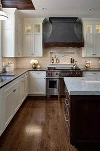 White, Transitional, Kitchen, With, Metal, Hood