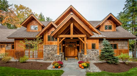 timberframe lake house rustic exterior manchester by all in the details
