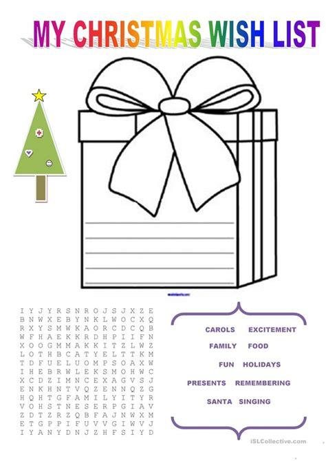 my wish list worksheet free esl printable