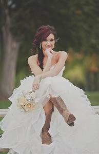Wedding gowns with cowboy boots wedding dress with for Wedding dresses with cowgirl boots