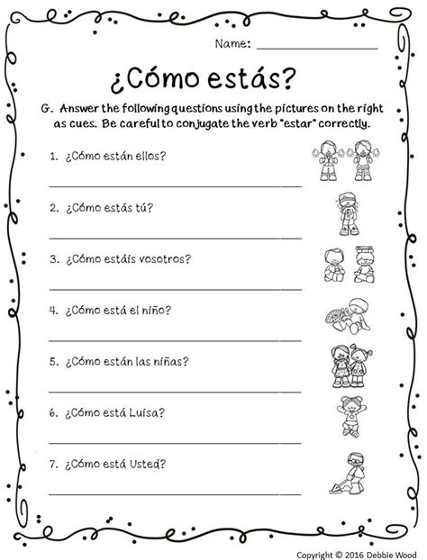verb estar posters and worksheets classroom d 233 cor