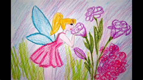 blumen fee zeichnen lernen rosa kleid malen