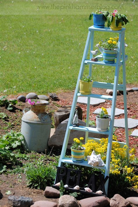 Recycled Garden Planters by How To Turn An Old Ladder Into A Beautiful Plant Stand