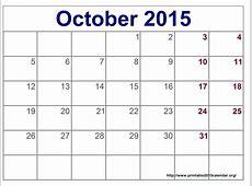 October Printable Calendar » Calendar Template 2018