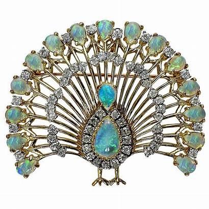 Peacock Brooch Opal Gold Jewelry Diamond 1stdibs