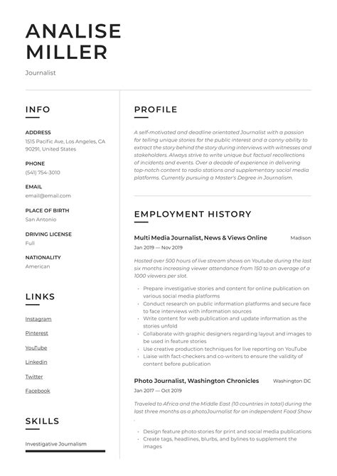 Journalist Resume & Writing Guide   +12 Resume Templates   2020