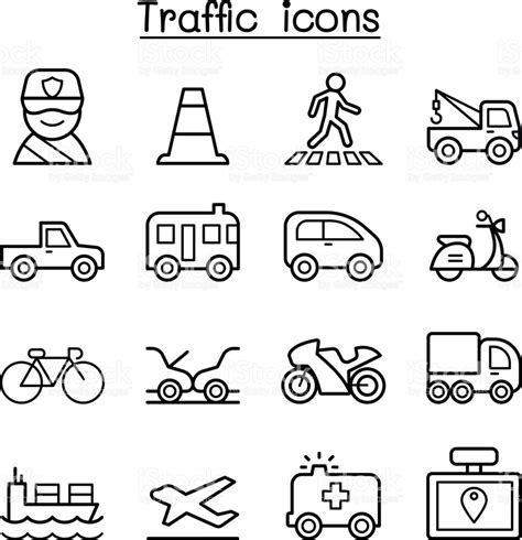 land transportation clipart black and white traffic transportation icon set in thin line style stock