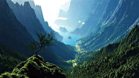 Awesome Mountain Valley Wallpaper
