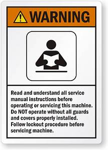Read All Service Manual Instructions Before Operating