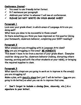 Parent Teacher Conference Letter- Student Self Reflection