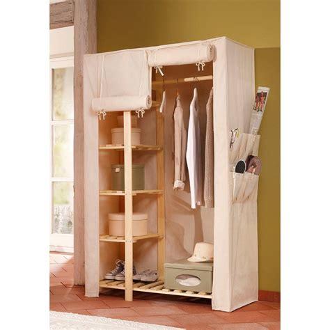 armoire penderie en pin massif et tissu home affaire cr 232 me autres mobilier 3suisses