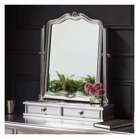 silver dressing table mirror with drawers 60x73cm