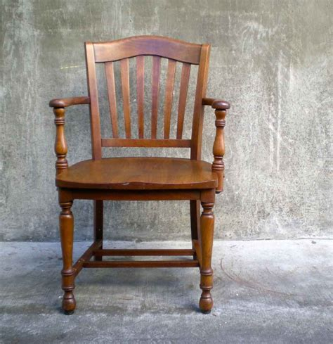 wood antique office chair  vintage