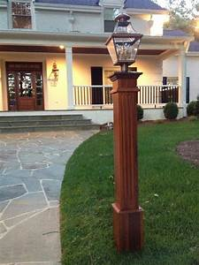 cedar lamp post to match cedar shingles and red brick grey With outdoor lights for driveway columns