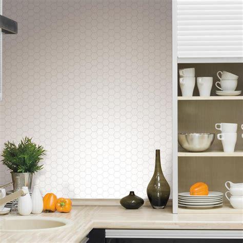 picture of kitchen backsplash roommates pearl hexagon peel and stick tile backsplash 4 4187