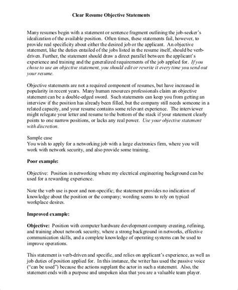 Objective Statements On Resume by Sle Resume Objective Statement 8 Exles In Pdf