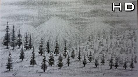 como dibujar  paisaje de montanas  nieve  lapiz paso