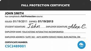 Sample certificate of completion of training fall protection fall protection certification template canada safety compliance fall protection maxwellsz