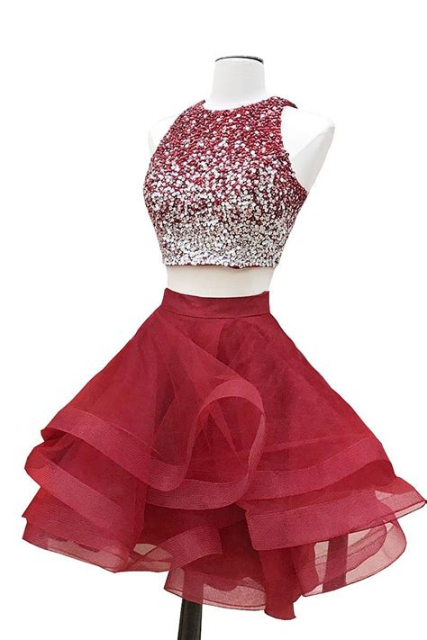 burgundy color prom dress burgundy two pieces sequin prom dress burgundy