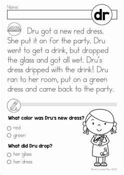 blends worksheets and activities dr phonics reading kindergarten reading reading comprehension
