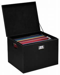 hanging file box with lid black leatherette With document box with lid