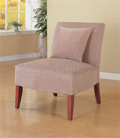 taupe velvet upholstery modern lounge chair w accent pillow