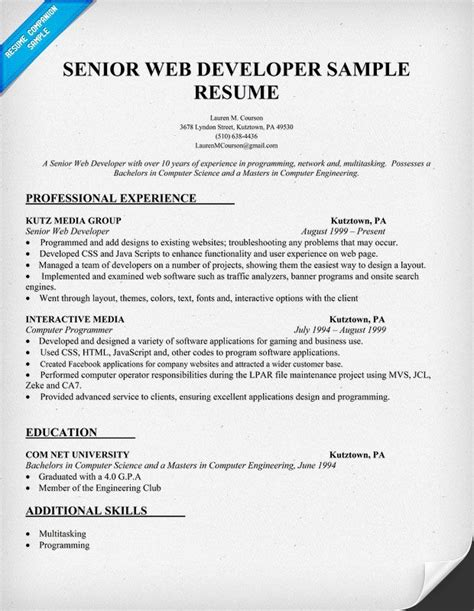 Web Developer Resume Exles by Resume Sle Senior Web Developer Http Resumecompanion