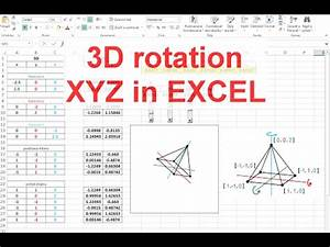 Excel Charts And Graphs Excel 3d Rotation Of Xyz Objects And Coordinates Youtube