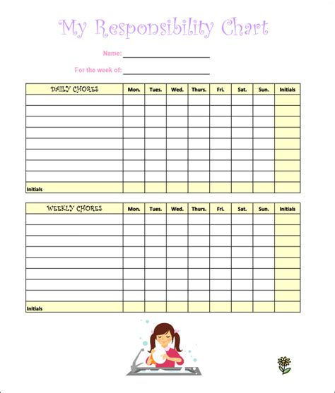 Free Chore Chart Template by 7 Chore Chart Templates Free Word Excel Pdf