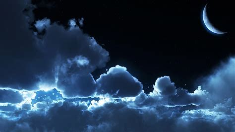 moon and clouds wallpaper 3191
