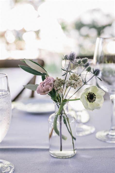 bud vase centerpiece  anemone carnation olive