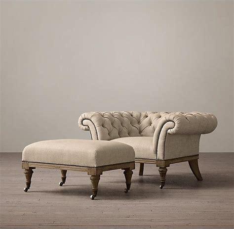 upholstered chesterfield small ottomans  footstools