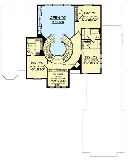 house plans with large kitchen two curved staircases 89677ah 1st floor master suite