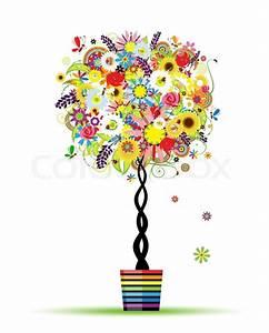 Baum Im Topf : sommer floral baum im topf f r ihr design vektorgrafik ~ Michelbontemps.com Haus und Dekorationen