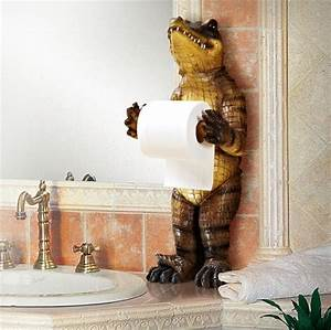 New, Creative, Resin, Cute, Upright, Bears, And, Crocodile, Hole, Free, Unique, Toilet, Paper, Holder, Novelty