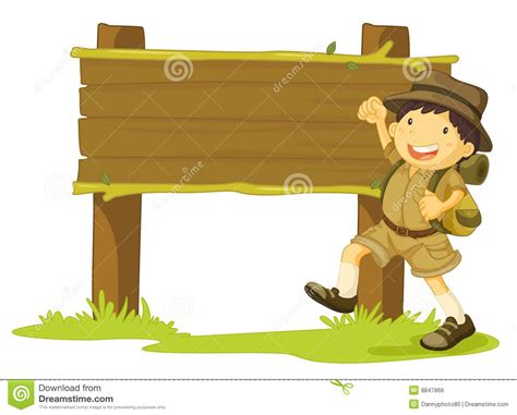 Girl scout and sign stock vector. Illustration of hike ...