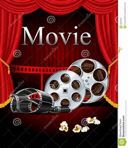 Movie Ticket Layout Film Movies Cinema With Red Curtain In The Theater Stock