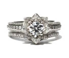 flower wedding ring set wedding set unique flower engagement ring and