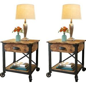 country table ls living room pair rustic country end tables antique vintage metal wood