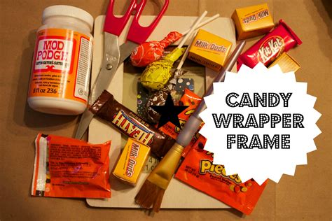 These wrappers are such a fun way to give a christmas favor! Halloween Candy Wrapper Picture Frame Craft | Picture frame crafts, Frame crafts, Candy wrappers