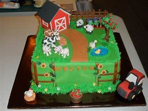 This Is A Farm Themed Baby Shower Cake Barn And Tree Are