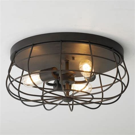 industrial cage ceiling light available in 2 colors