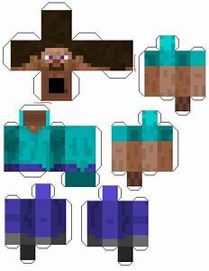 minecraft papercraft printable character cut out of steve With minecraft steve paper template