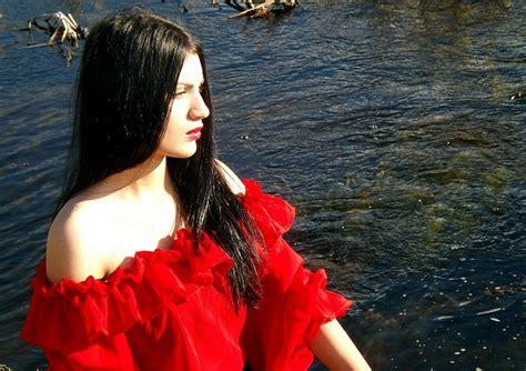 photo girl gipsy lake red beauty  image